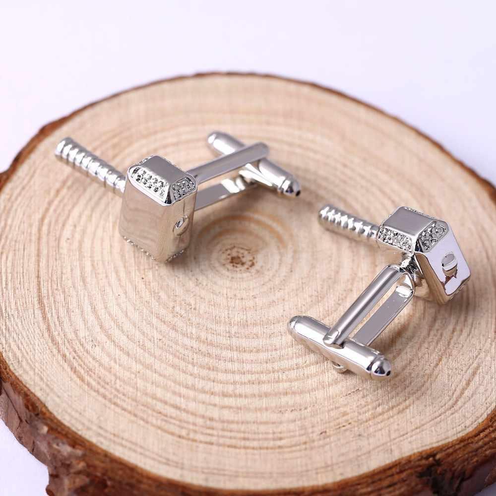 Moda jóias presentes abotoaduras thor mjolnir martelo requintado botão de punho para homens camisa francesa ornamento
