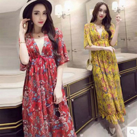 2017 Floral Print Chiffon Long Dress Women Sexy V Neck Beach Summer Bohemia Dresses Plus Size