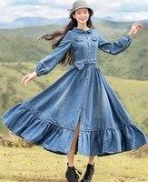 Женское джинсовое длинное платье из хлопка, весна осень, винтажное облегающее платье vestito lungo, повседневное свободное джинсовое длинное пла