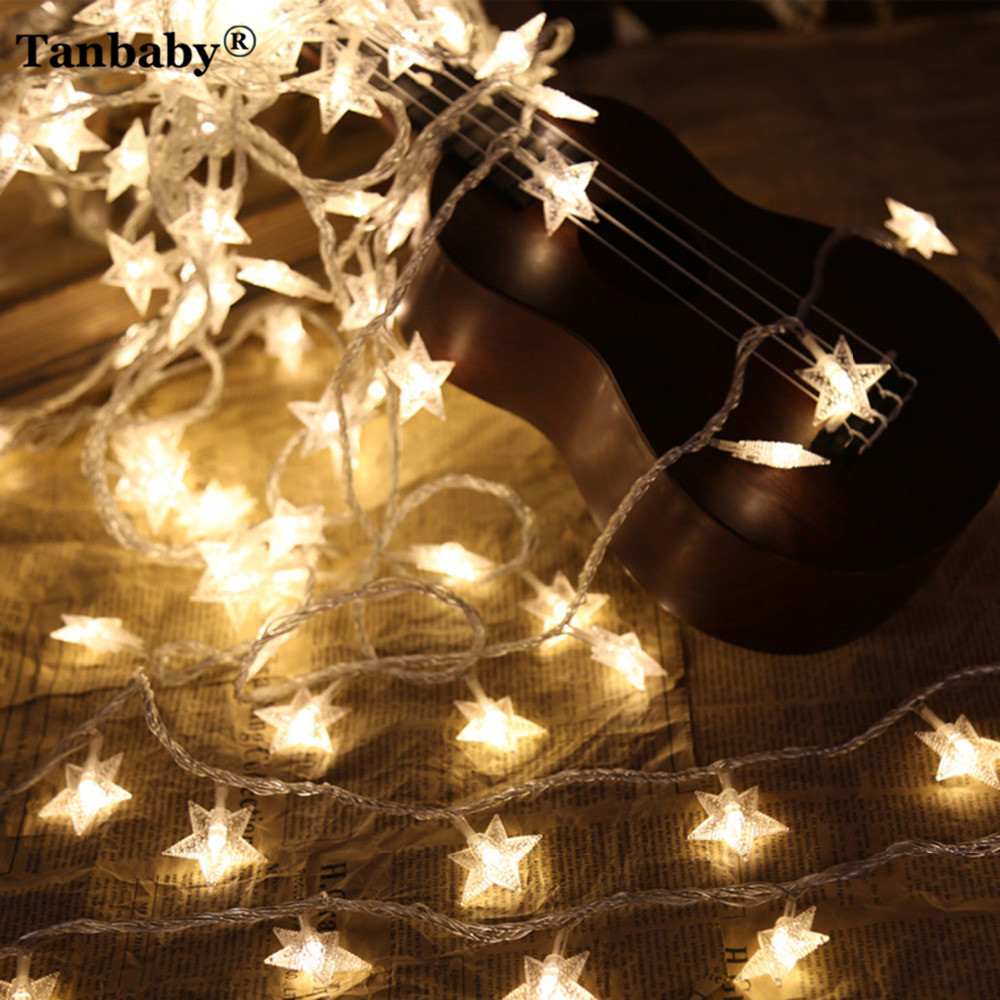 Tanbaby 10m 100LED Star String Light Outdoor Garland Fairy ...
