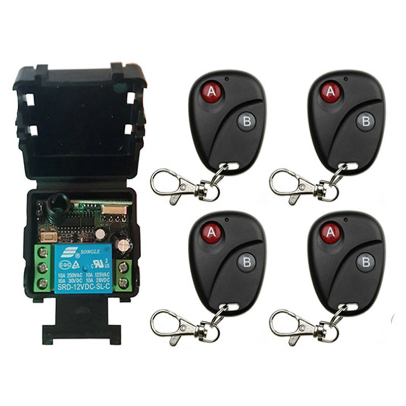 Mini Wireless RF Remote Control Light Switch 10A Relay Output Radio DC 12V 24V 1 CH Channel 1CH Receiver Module +Transmitter