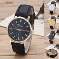 Luxury Classic Geneva Gold Silver PU Leather Quartz Dress Business Wrist Watch Gift Hours for Men Boy Black Brown