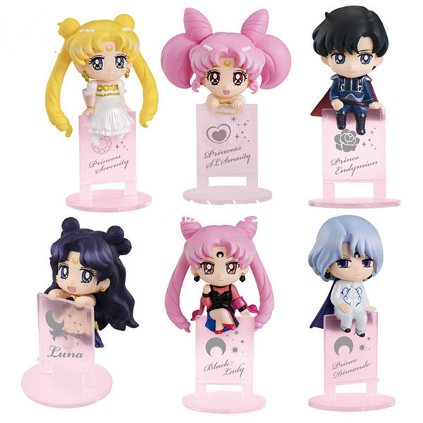 цены 6pcs/set Sailor Moon Chiba Mamoru Diamond Luna Tea Cup PVC Action Figure Collectible Model Toy 5cm KT3852