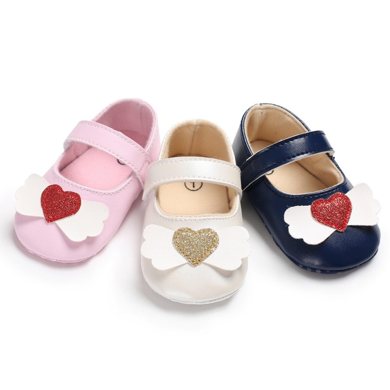 Fashion Baby First Walkers Baby Girls Shoes Princess Heart PU Shoes Soft Bottom Anti-skid Spring Autumn Prewalkers
