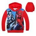 2015 Novo Design Crianças Spiderman Meninos Hoodies Camisolas Outerwear das Crianças Roupas 3-8A