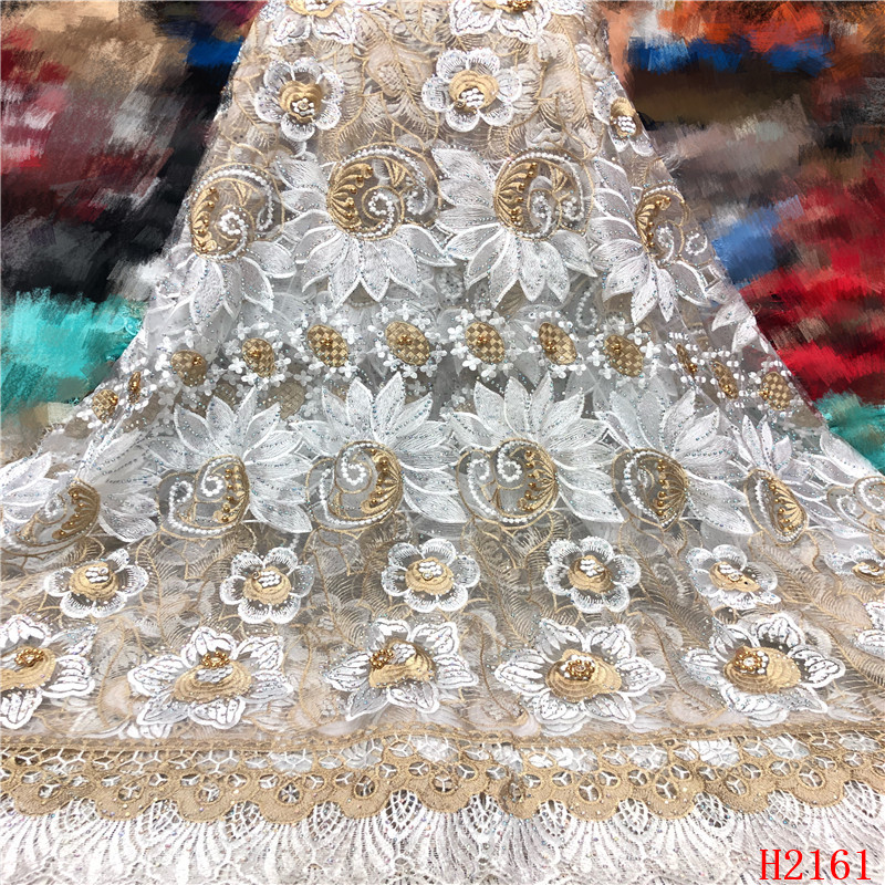 OFF WHITE African Guipure lace very neat embroidery Nigerian cord lace fabric with stones beads high quality 5 yards HJ2161-1OFF WHITE African Guipure lace very neat embroidery Nigerian cord lace fabric with stones beads high quality 5 yards HJ2161-1