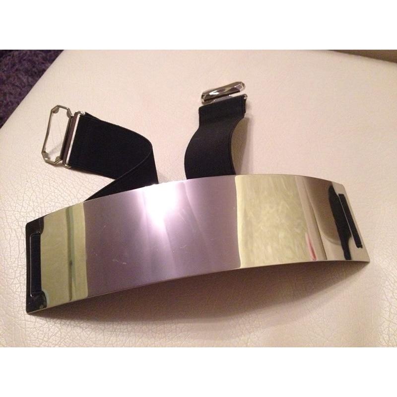 Woman Silver Wide Shinny Metal Plate   Belt   Black Band Quality Stretch   Belts   Metal Hook Fashion Woman Apparel Accessory bg-004