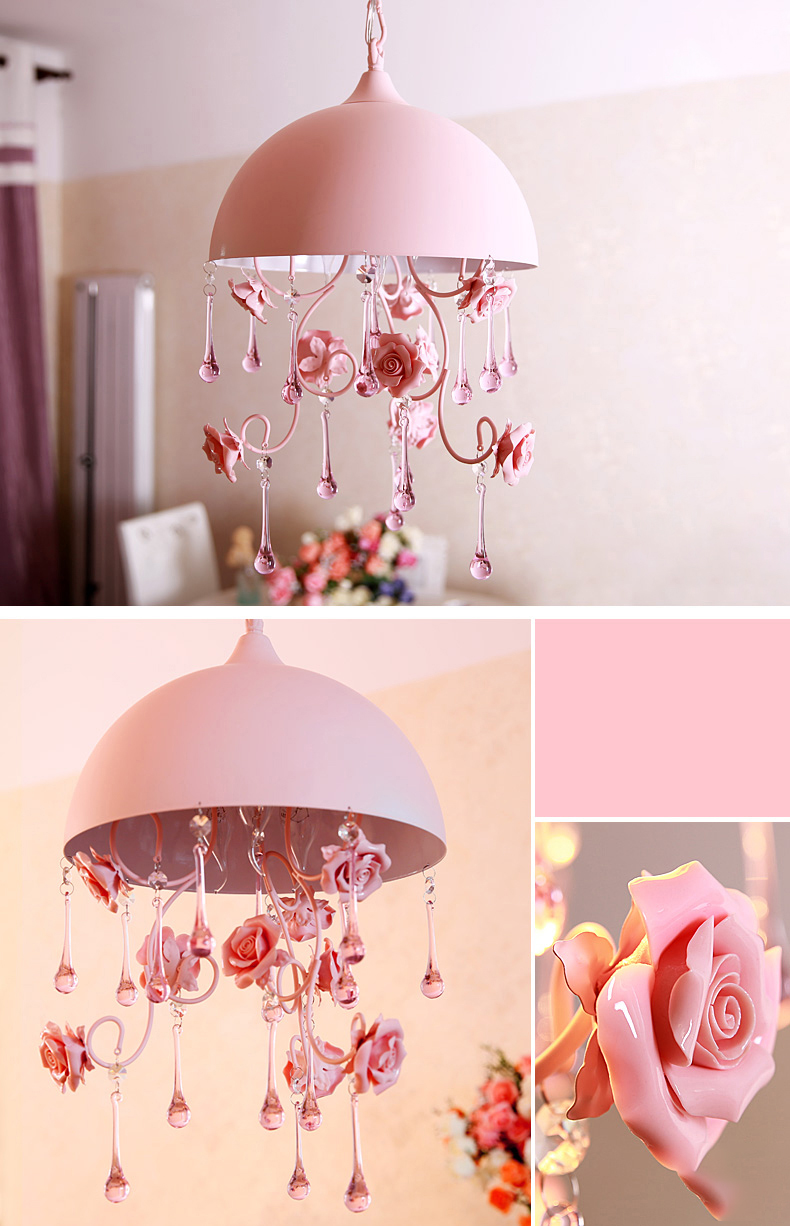 Tiffany Pink Kids Children Girls Room Pendant Light Ceramic