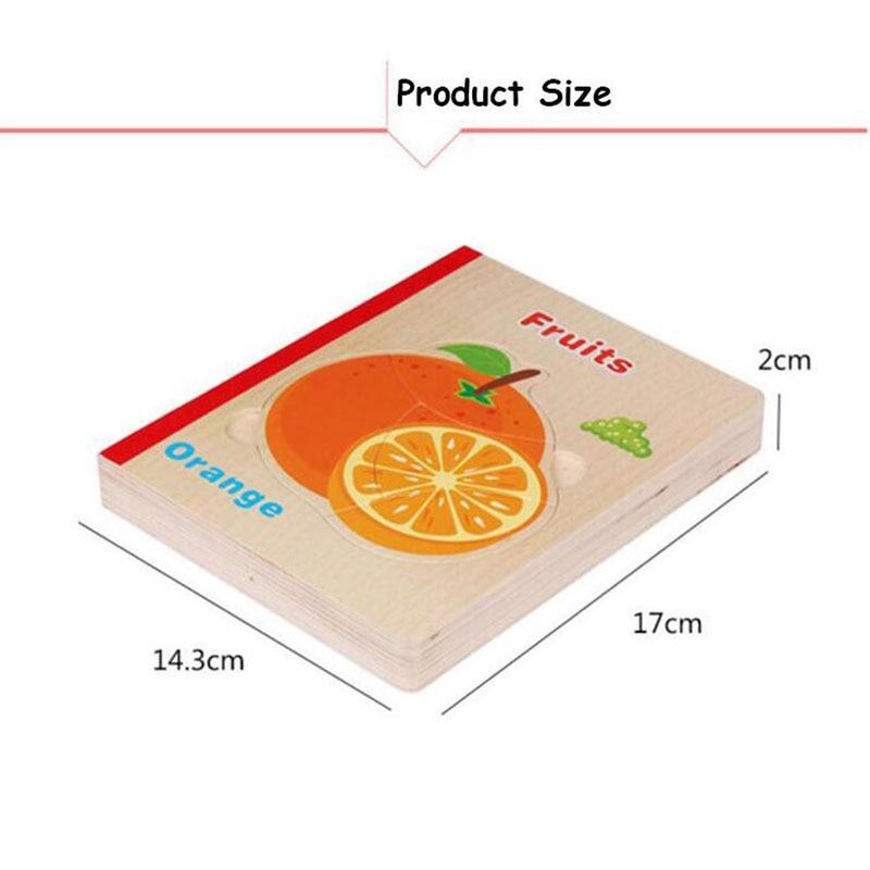 6 sidor trä pussel bok trä material djur frukt 3d pussel leksaker - Spel och pussel - Foto 3