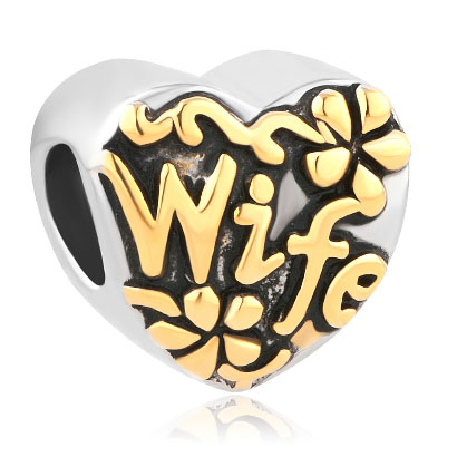 Fit Pandora charm bracelets Heart Love Gold Wife Alloy Bead Charms For Bracelets Beads for jewelry making