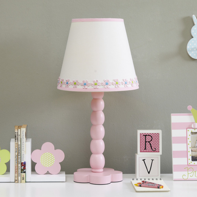 Lovely Creative Pink wood Fabric Flowers Led E27 Table Lamp For ...