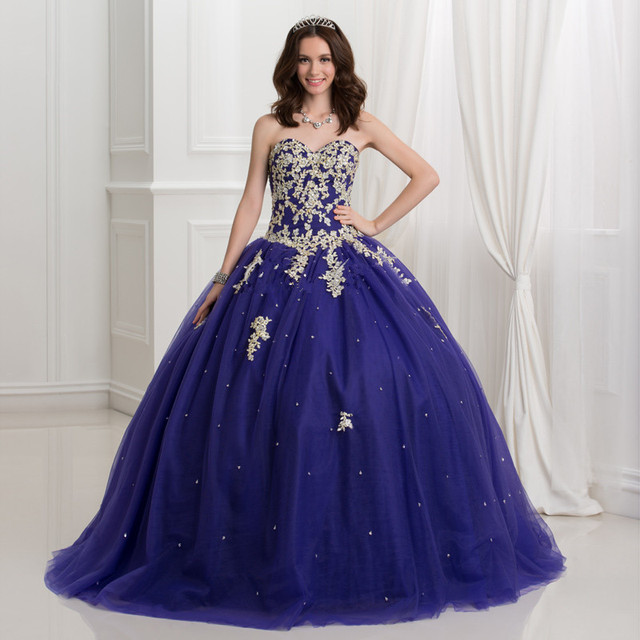 077ebd80ac4 Dark Royal Blue Ball Gown Quinceanera Dresses With Gold Lace Applique 2017  Puffy Sweet 16 Dress Plus Size Vestidos Debutante