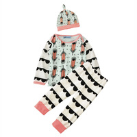 Cute Baby Girls Clothing Sets Tops Cartoon Feather Pattern T Shirt Pants Hat Outfit Set 3Pcs