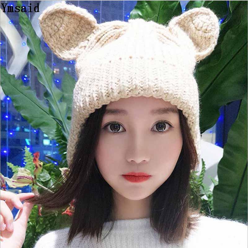 Ymsaid Brand Warm Women Knitted Hat Winter with cat ear Cute Lady flexible Ears Protection Beanie Hats Wholesale Winter Caps glaedwine 2017 brand very cute fox ears cat ear new women winter hat 100