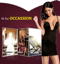 NINGMI Women Slimming Shapewear Bodysuit Sexy U Plunge Wedding Bodysuit Hot Body Shaper Waist Trainer Camis Slim Full Slip Dress