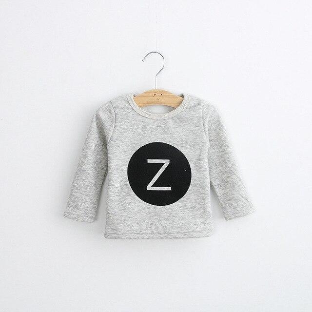 Children's Clothing Winter Baby Girl T-Shirts for girls Toddler Long Sleeve Tshirts fleece Plus velvet Cotton Letter Z hoody Tee
