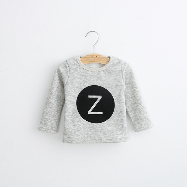 Los niños ropa de Invierno Niña Camisetas para chicas Camisetas de Manga Larga Del Niño sudadera polar, Además de terciopelo de Algodón Letra Z Tee