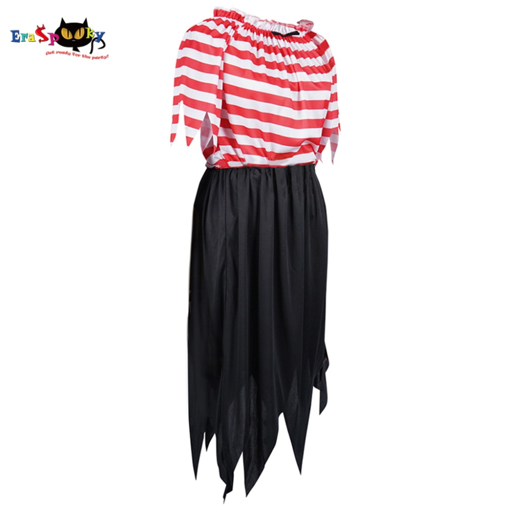 5 Pcs/Lot Ladies Pirate Dress Girl Pirate Crew Costume Women Female Stripes Halloween Party Costumes Clothing for Wholesale
