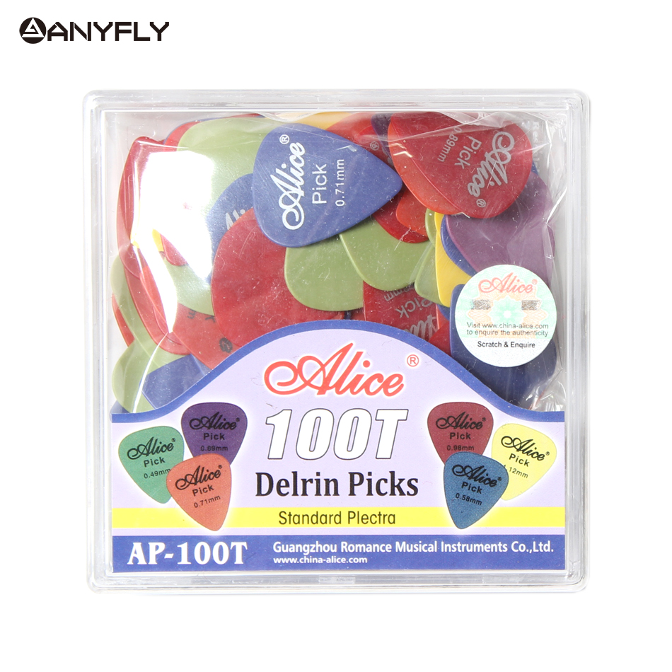 Free Shipping Alice AP-100T 100Pcs/Set Professional High Quality Delrin Acoustic Electric Guitar Guitar Picks Plectra Wholesale