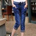 2016 Nuevo Estilo de Las Mujeres Harem Jeans Niñas Capris Pantalones Casuales Elástico Pantalones Vaqueros de Cintura Alta Más Tamaño 4XL Azul WM01