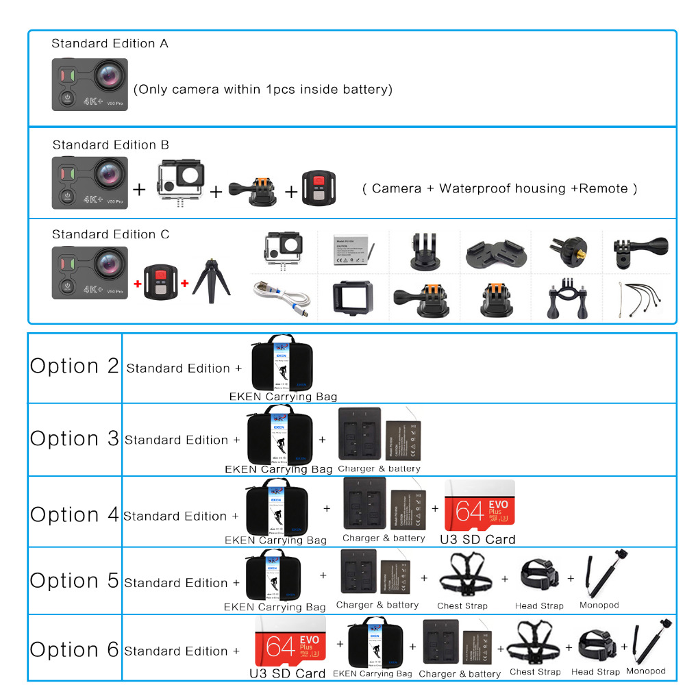 Date EKEN V50 Pro Action Caméra Ambarella Chipset Sony Capteur 4 k 30FPS Moto Caméra WiFi Étanche Mini Sport Caméra - 6