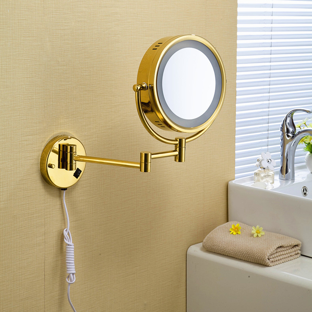 Bath Mirror Round Wall Cosmetic Mirrors 3x1 Magnifying Mirrors LED Brass Golden Folding Bathroom Makeup Light Mirror  LO741140Bath Mirror Round Wall Cosmetic Mirrors 3x1 Magnifying Mirrors LED Brass Golden Folding Bathroom Makeup Light Mirror  LO741140