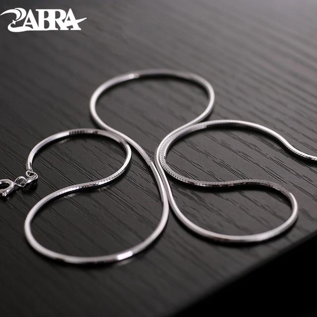 ZABRA כסף קולר שרשרת לגברים נשים 1.5mm 45/50cm ארוך Steampunk 925 סטרלינג כסף נחש סגנון biker תכשיטי שרשרת