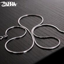 ZABRA Silver Choker Necklace For Men Women 1.5mm 45/50cm Long Steampunk 925 Sterling Silver Snake Style Biker Jewelry Chain