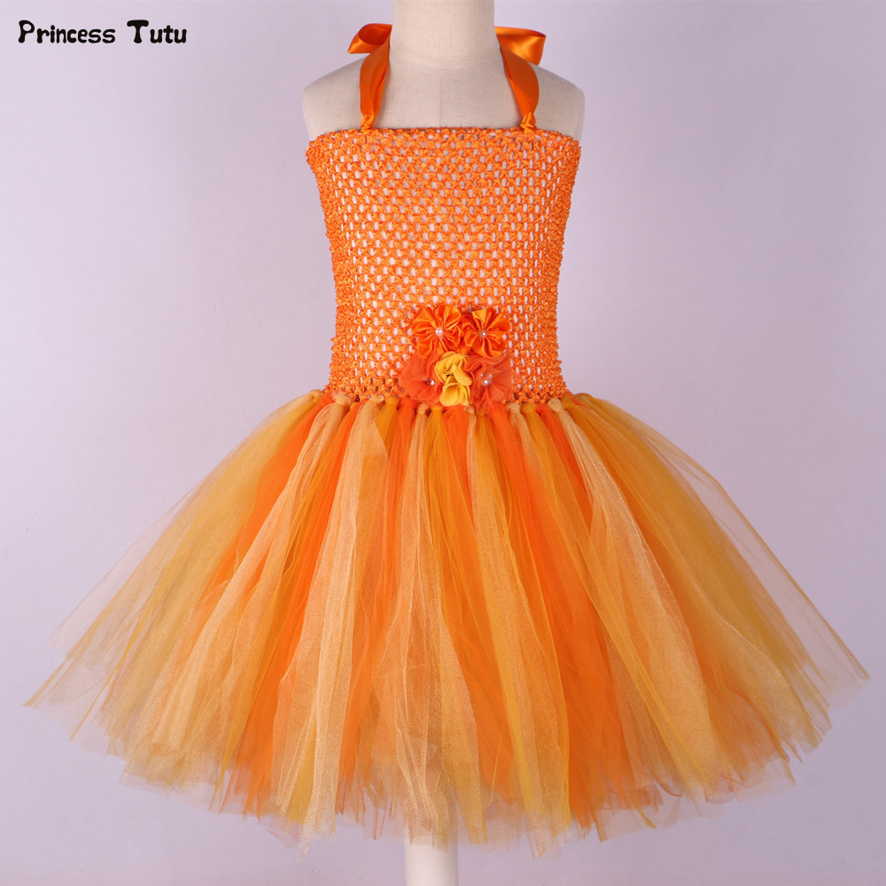 Handmade Flower Girl Tutu Dress for Children Orange Halloween Pumpkin Costume Kids Girl Tulle Performance Birthday Party Dresses moeble 2017 baby witch costume halloween girl tutu dress kids fancy clothing for party handmade children tulle tutu dresses