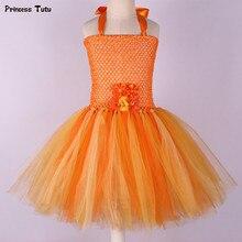 Handmade Flower Girl Tutu Dress for Children Orange Halloween Pumpkin Costume Kids Girl Tulle Performance Birthday Party Dresses