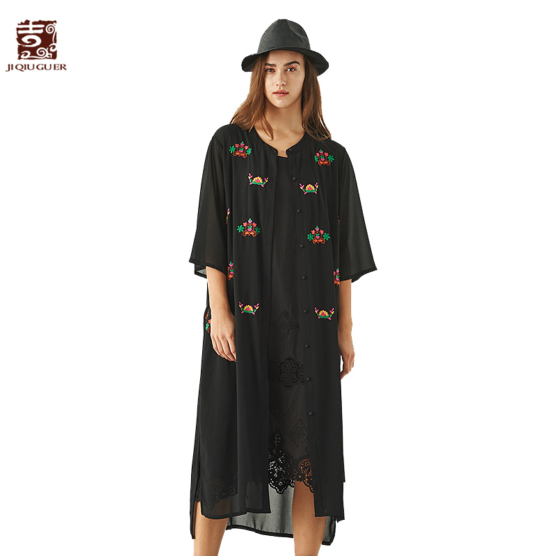 Здесь продается  Jiqiuguer Women Black Summer Three Quarter Trench Single Breasted Floral 100% Lanon Buttons Embroidery Casual Caedigan G182Y025  Одежда и аксессуары