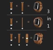 2016 hombres y mujeres de 3 in1 cuero genuino correa de reloj 42mm correas de reloj para apple watch band 38mm negro iwatch + conector
