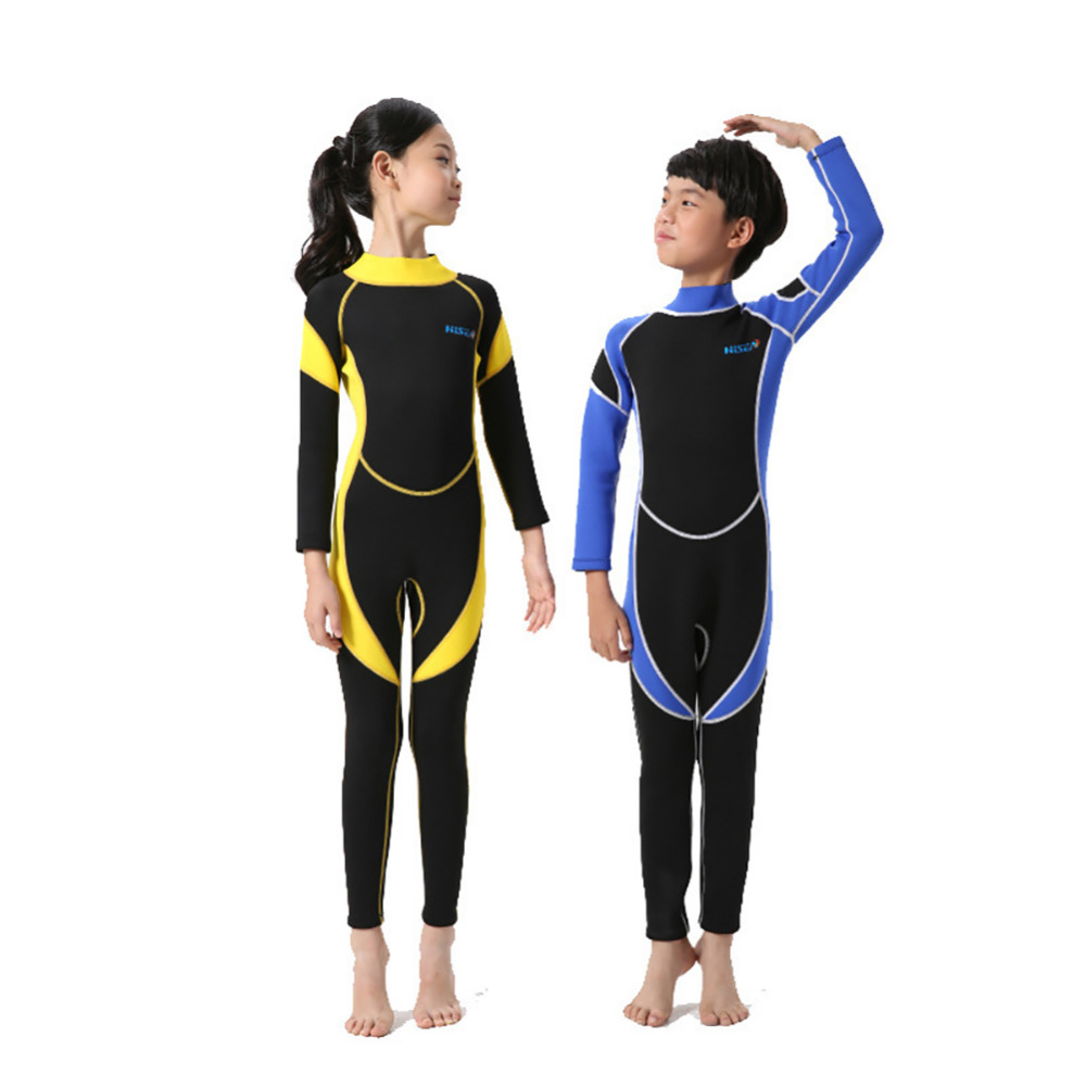 2017 New Wetsuit for Kids Boys Girl One Piece Swimsuit Diving Suits Long Sleeves Boys Girls Surfing Children Rash Guards Snorkel