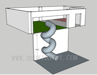 CE Certificated Jungle Concept Soft Playground With 4m High Big Tunnel Slide To The Downstair