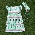 2016 envío gratis nuevos bebés de la ropa 2-7 años de edad las niñas flecha verde vestido con collar a juego y diadema
