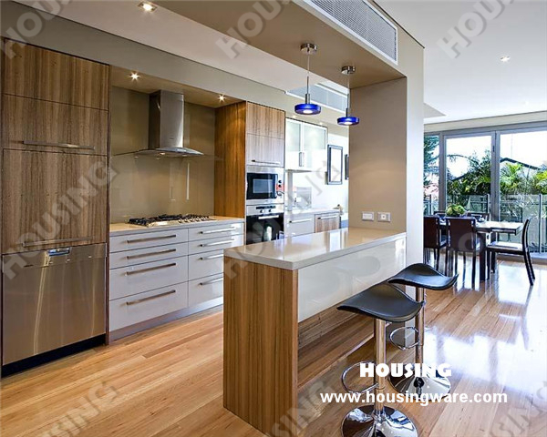 Chinese Customized New Style Modern Timber Veneer Kitchen Cabinet