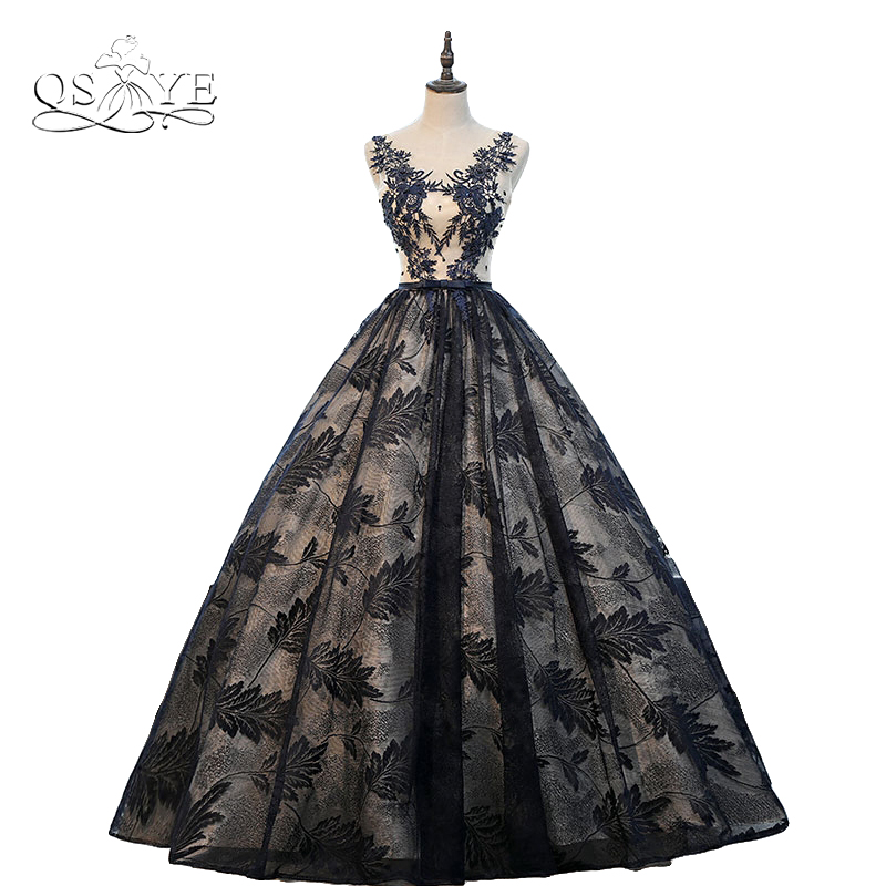 Vintage Black Lace Long Prom Dresses 2018 Robe de Soiree Saudi Arabia V Neck Appliques Tulle Formal Evening Party Gowns