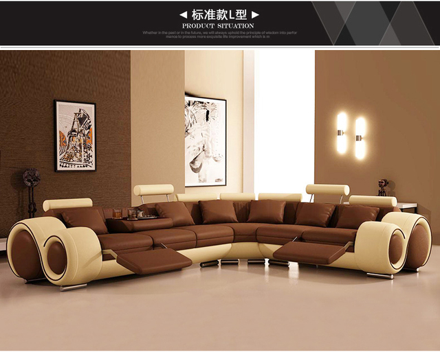 Modern living room sectional lounge sofa set with genuine leather ...