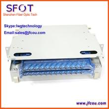 Caja de fibra Óptica ODF 24 Core. con 24 unids SC adaptador y Coletas.