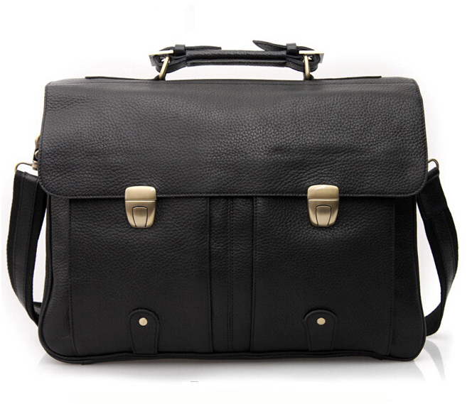 "men's leather briefcase men genuine leather briefcases for 15"" laptop briefcase tote business Case male man messenger bag Black"