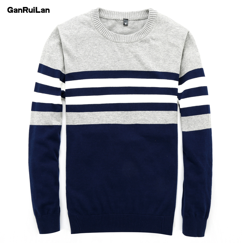 Sweater Men 2018 New Arrival Casual Pullover Men Autumn Round Neck Patchwork Quality Knitted Male Sweaters B02745