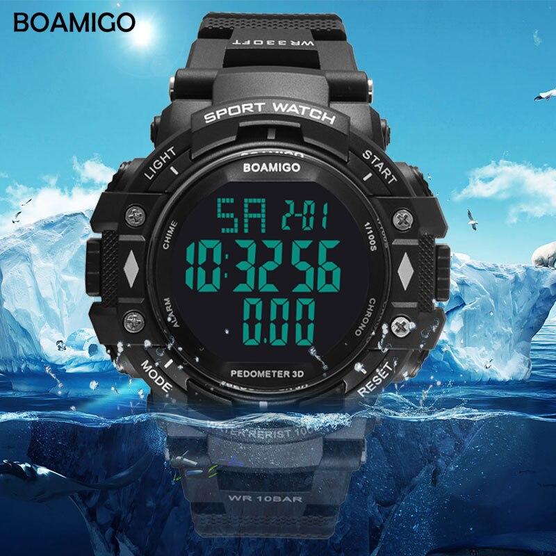 100m resistente à água homens relógios desportivos marca BOAMIGO calorias pedômetro digital LED relógios de pulso reloj hombre de natação