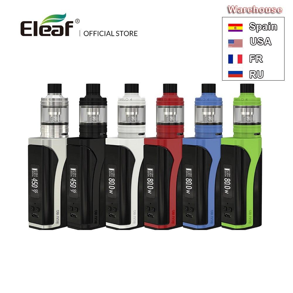 Entrepôt d'origine Eleaf iKuu i80 avec MELO 4 kit complet avec 2 ml/4.5 ml e-liquide capacité 3000 mAh batterie 510 fil EC2 tête vape