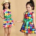 2016 лето девушки платье без рукавов, мода малышей жилет платье дети радуга dot принцесса костюм платье Лук 4 5 6 7 8 9 10 лет