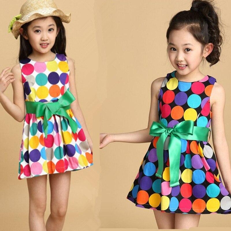 2016 summer girls sleeveless dress,fashion  toddler vest dress kids rainbow dot Princess costume dress Bow 4 5 6 7 8 9 10 years