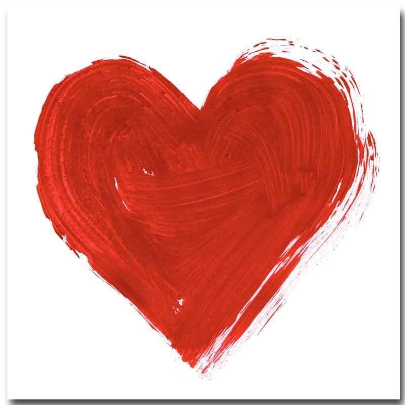 Ev Ve Bahce Ten Resim Ve Hat De Romantik Kirmizi Kalp Ask Tuval