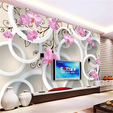 цена на Custom photo wallpaper Large wall painting background wall paper the living room TV Circle flowers 3d mural wallpaper