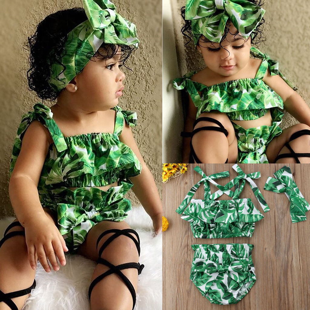 PUDCOCO Natural Sweet Toddler Baby Kids Girls Floral Strap Crop Tops +Shorts+Headband Outfits Set Summer Hot Clothes 1-5Y