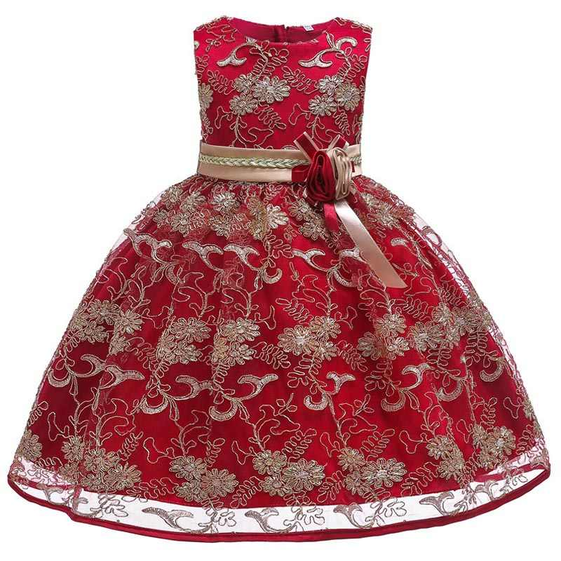 フラワーガールドレスウェディングパーティードレスフォーマル王女ダンスパフォーマンス美人コンテスト少女ゴールデン糸 embroide ドレス