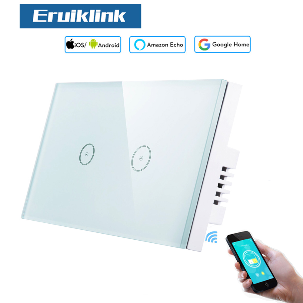 Eruiklink 2 gang US Standard WiFi Switch, Glass Panel Touch Light Switches, Alexa and Google echo Wifi Switch 110~240V eruiklink us standard smart wi fi switch button glass panel 1 gang touch light switch panel wifi alexa echo wall switch 110 240v